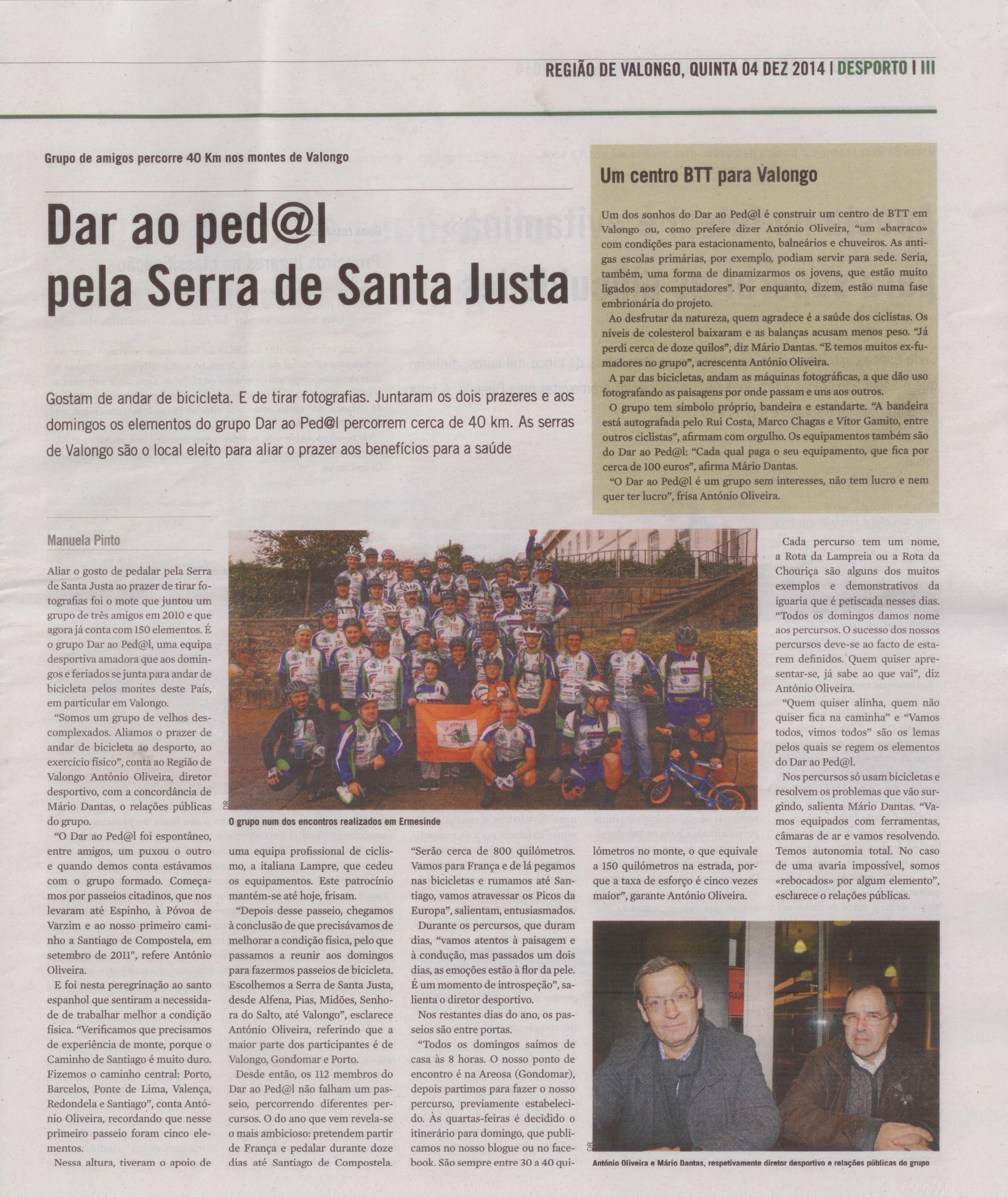 Jornal Região de Valongo, artigo publicado em 04.12.2014
